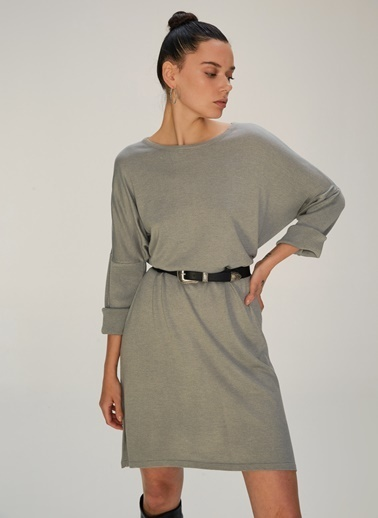NGSTYLE Oversize Triko Elbise Gri